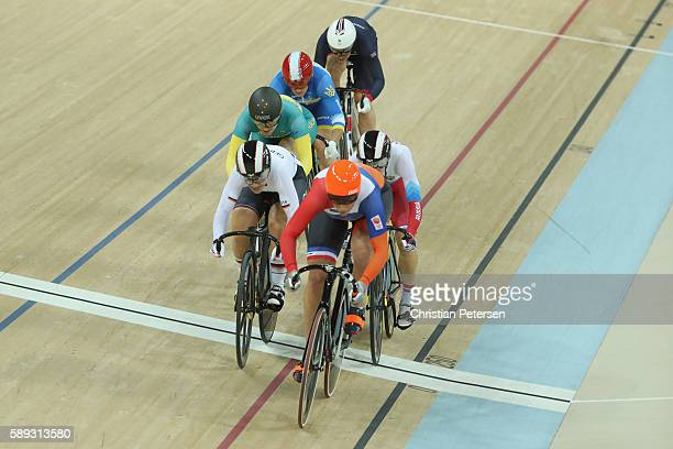 Elis Ligtlee of the Netherlands leads in the during the Women's Keirin Final on Day 8 of the Rio 2016 Olympic Games at the Rio Olympic Velodrome on...