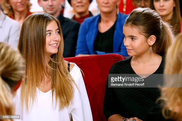 Elisa and Toscane daughters of Cristana Reali and Francis Huster attends the 'Vivement Dimanche' French TV Show at Pavillon Gabriel on September 24...
