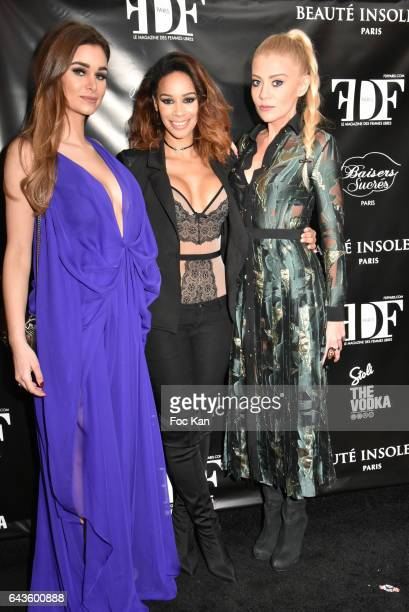 Elisa Bachir Bey Alicia Fall and Julia Battaia attend the FDF Magazine Launch Party at Hotel Christian Dior on February 21 2017 in Paris France