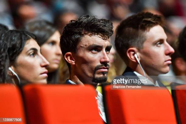 Elisa BALSAMO, Julian ALAPHILIPPE and Tadej POGACAR during the presentation of the Tour de France 2022 at Palais des Congres on October 14, 2021 in...