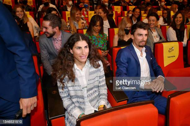 Elisa Balsamo of Italy and Team Valcar - Travel & Service and Julian Alaphilippe of France and Team Deceuninck - Quick-Step World Champion riders...