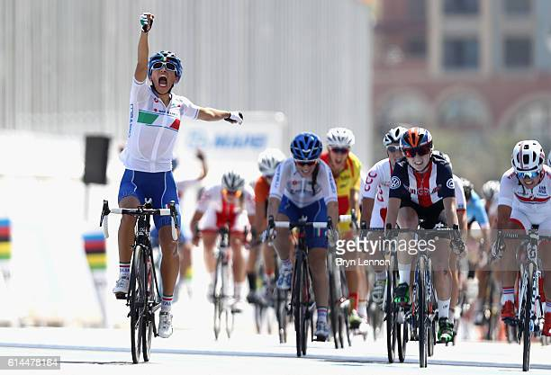 Elisa Balsamo of Italy celebrates after winning the Women Juniors Road Race on Day Six of the UCI Road World Championships at The Pearl on October 14...