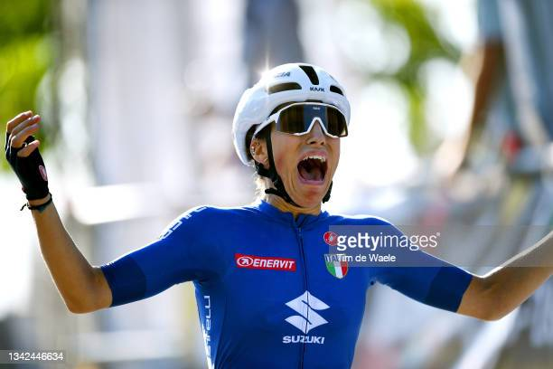 Elisa Balsamo of Italy celebrates winning during the 94th UCI Road World Championships 2021 - Women Elite Road Race a 157,7km race from Antwerp to...