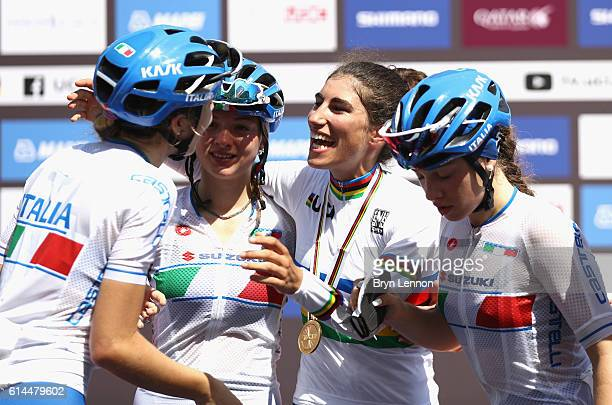 Elisa Balsamo of Italy celebrates with other Italian riders after winning the Women Juniors Road Race on Day Six of the UCI Road World Championships...