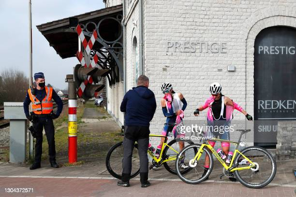 Elisa Balsamo of Italy & Eleonora Camilla Gasparrini of Italy and Team Valcar - Travel & Service The Peloton stopped due train crossing / during the...