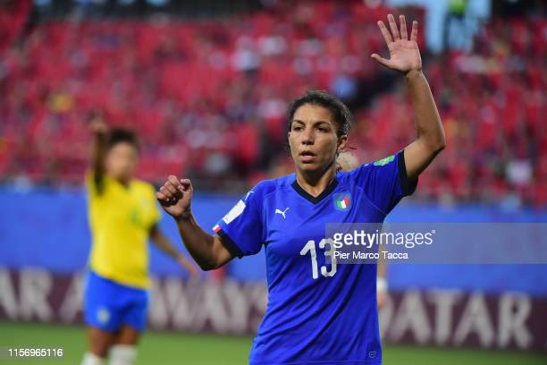 Elisa Bartoli of Italy gestures during the 2019 FIFA Women's World Cup France group C match between Italy and Brazil at Stade du Hainaut on June 18...