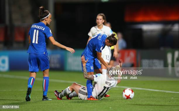 Elisa Bartoli of Italy Women appears to punch Anja Mittag of Germany Women in the head during the UEFA Women's Euro 2017 match between Germany and...