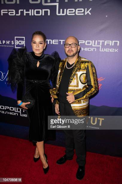 Elisa Beristain and Pepe Garza attend Metropolitan Fashion Week's Closing Gala And Fashion Awards at Los Angeles City Hall on October 6 2018 in Los...