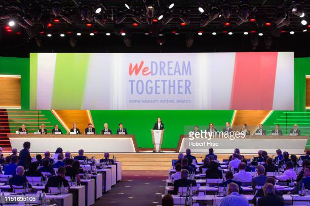 Elisa Confortola of Italy European Youth Gold medalist shows the logo 'We Dream together' during IOC Announcement at SwissTech Convention Center on...