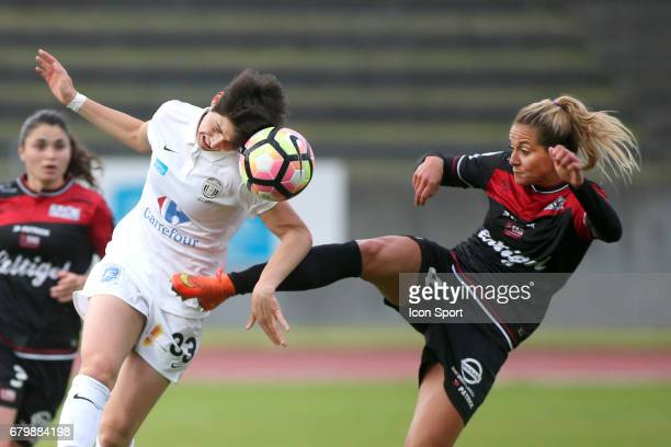 Elisa De Almeida and Julie Debever during the Women's Division 1 match between Juvisy and Guingamp on May 6, 2017 in Evry, France.