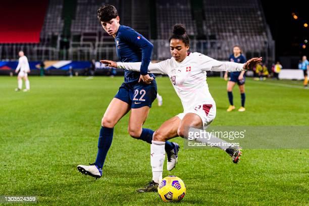 Elisa de Almeida of France plays against Eseosa Eigbogun of Switzerland during the friendly match between France and Switzerland at Saint-Symphorien...