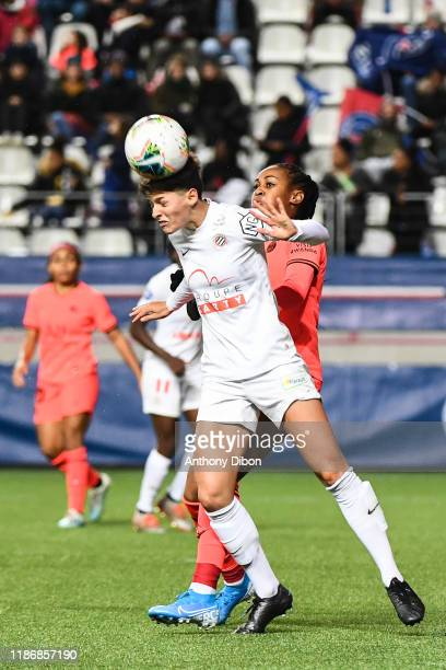 Elisa DE ALMEIDA of Montpellier and Marie Antoinette KATOTO of PSG during the Division 1 match between PSG and Montpellier on December 7 2019 in...