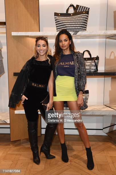 Elisa De Panicis and Andressa are seen at Balmain Menswear collection launch as part of Salon del Mobile during Milan Design Week on April 09 2019 in...