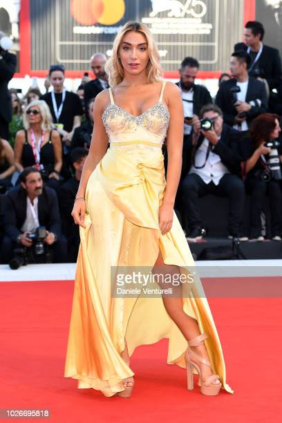 Elisa de Panicis walks the red carpet ahead of the 'Vox Lux' screening during the 75th Venice Film Festival at Sala Grande on September 4 2018 in...