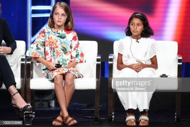 Elisa Del Genio and Ludovica Nasti of 'My Brilliant Friend' speak onstage during the HBO portion of the Summer 2018 TCA Press Tour at The Beverly...