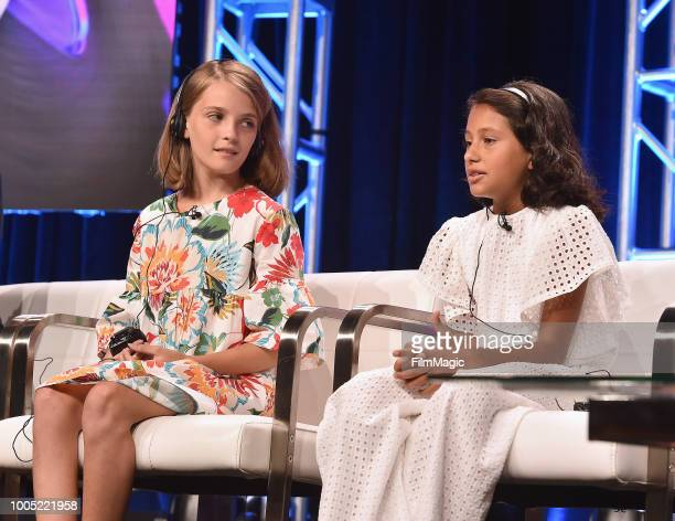 Elisa Del Genio and Ludovica Nesti speaks onstag at HBO Summer TCA 2018 at The Beverly Hilton Hotel on July 25 2018 in Beverly Hills California