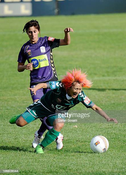 Elisa D'Ovidio of the Glory tackles Tseng ShuO of Canberra during the round one WLeague match between the Perth Glory and Canberra United at 6PR...