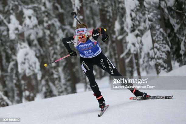 Elisa Gasparin of Switzerland competes during the IBU Biathlon World Cup Women's Sprint on January 18 2018 in AntholzAnterselva Italy