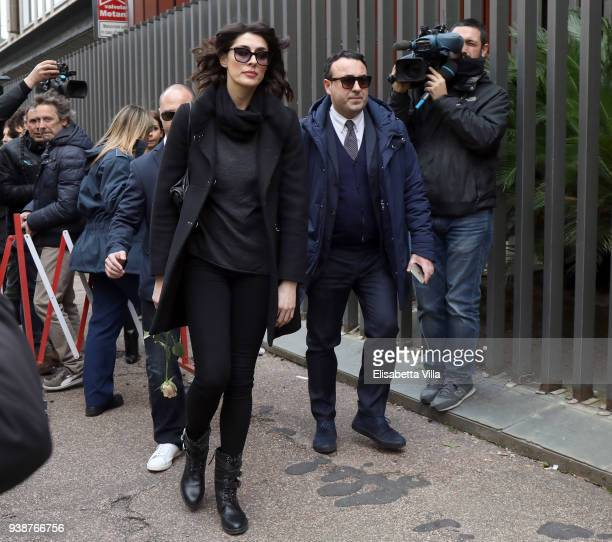 Elisa Isoardi arrives at the Fabrizio Frizzi funeral parlour at RAI Viale Mazzini on March 27 2018 in Rome Italy