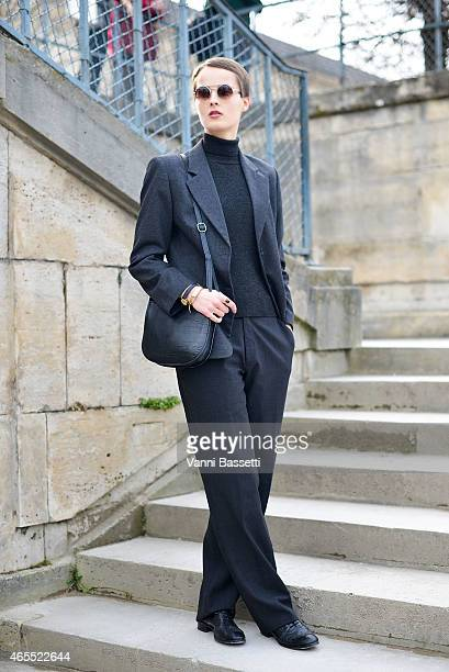 Elisa Jalava poses in a vintage outfit on Day 5 of Paris Fashion Week Womenswear FW15 on March 7 2015 in Paris France