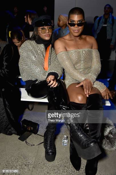 Elisa Johnson and EJ Johnson attend the Laquan Smith front row during New York Fashion Week The Shows at Gallery I at Spring Studios on February 14...