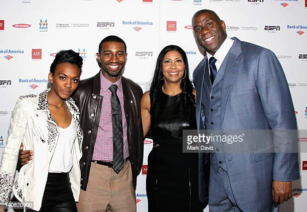 Elisa Johnson Andre Johnson Earlitha Cookie Johnson and Earvin 'Magic' Johnson attend the Los Angeles Premiere of ESPN Films Documentary 'The...