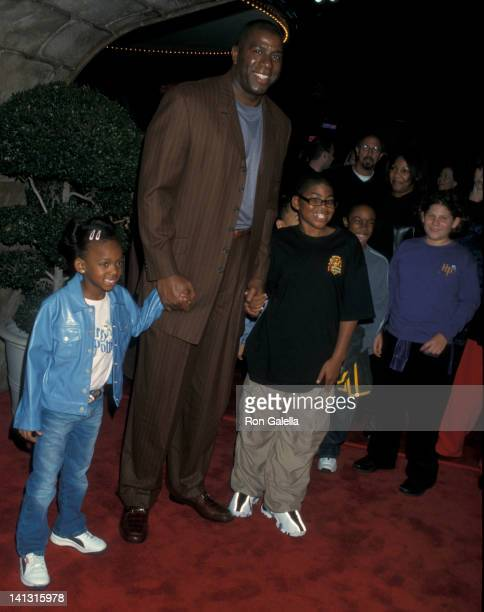 Elisa Johnson, Magic Johnson and Earvin Johnson III at the Los Angeles Premiere of 'Harry Potter & The Sorcerer's Stone', Mann Village Theater,...