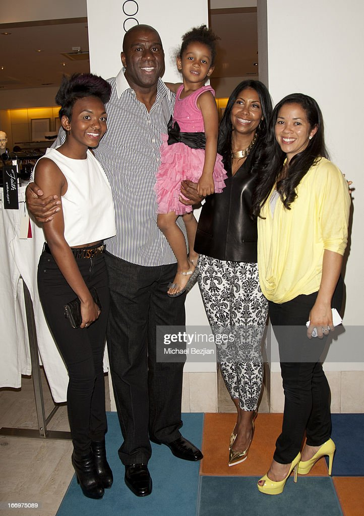 Elisa Johnson, Magic Johnson, Gigi, Cookie Johnson and Lisa Meyers Johnson attend Cookie Johnson And Neiman Marcus Host Girls Night Out on April 18, 2013 in Beverly Hills, California.
