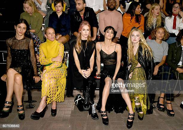 Elisa Lasowski, Tiphaine de Lussy, Mary Charteris, Sofia Boutella, Anais Gallagher and Phoebe Collings-James attend the Mulberry Spring/Summer 2017...