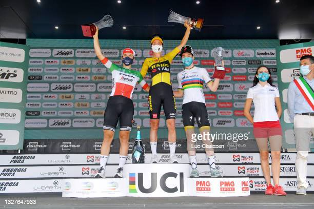 Elisa Longo Borghini of Italy and Team Trek - Segafredo 2nd place, Marianne Vos of Netherlands and Jumbo Visma Team stage winner & Anna Van Der...