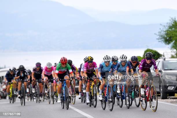 Elisa Longo Borghini of Italy and Team Trek - Segafredo, Marianne Vos of Netherlands and Jumbo Visma Team Purple Points Jersey, Ruth Winder of United...
