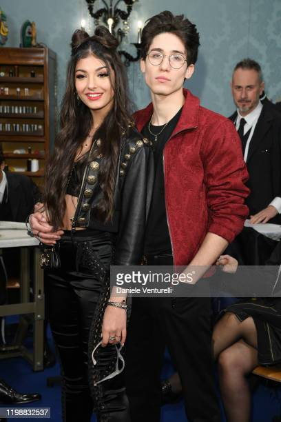 Elisa Maino and Diego Lazzari are seen at Dolce & Gabbana Front Row during Milan Men's Fashion Week Fall/Winter 2020/2021 on January 11, 2020 in...