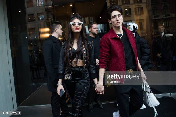 Elisa Maino and Diego Lazzari arrivals at Dolce e Gabbana fashion show during the Milan Fashion Week 2020 in Milan Italy on January 11 2020