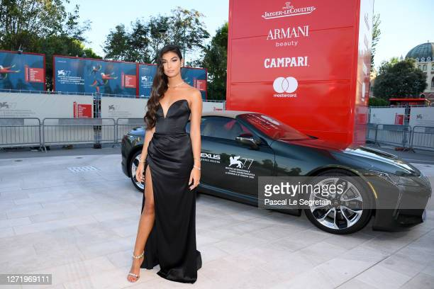 """Elisa Maino arrives on the red carpet ahead of the """"Nomadland"""" screening during the 77th Venice Film Festival on September 11, 2020 in Venice, Italy."""