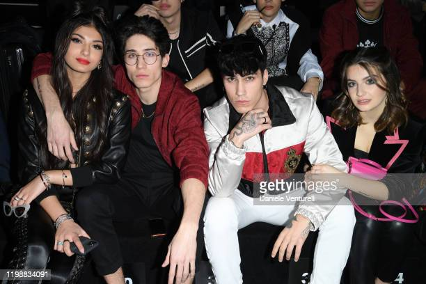 Elisa Maino, Diego Lazzari, Gianmarco Rottaro and Marta Losito are seen at Dolce & Gabbana Front Row during Milan Men's Fashion Week Fall/Winter...