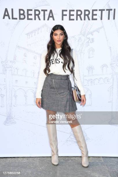 Elisa Maino is seen arriving at the Alberta Ferretti fashion show during the Milan Women's Fashion Week on September 23, 2020 in Milan, Italy.