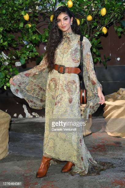 Elisa Maino is seen arriving at the Etro fashion show during the Milan Women's Fashion Week on September 24, 2020 in Milan, Italy.