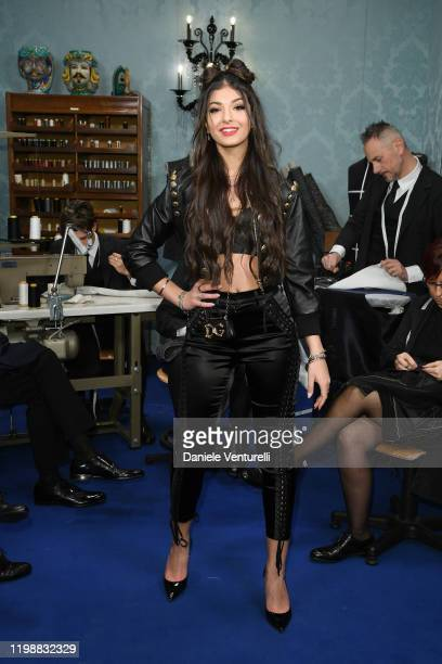Elisa Maino is seen at Dolce & Gabbana Front Row during Milan Men's Fashion Week Fall/Winter 2020/2021 on January 11, 2020 in Milan, Italy.