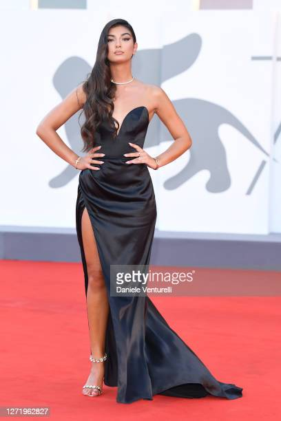 """Elisa Maino walks the red carpet ahead of the movie """"Nomadland"""" at the 77th Venice Film Festival on September 11, 2020 in Venice, Italy."""