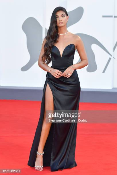 Elisa Maino walks the red carpet ahead of the movie 'Nomadland' at the 77th Venice Film Festival on September 11, 2020 in Venice, Italy.