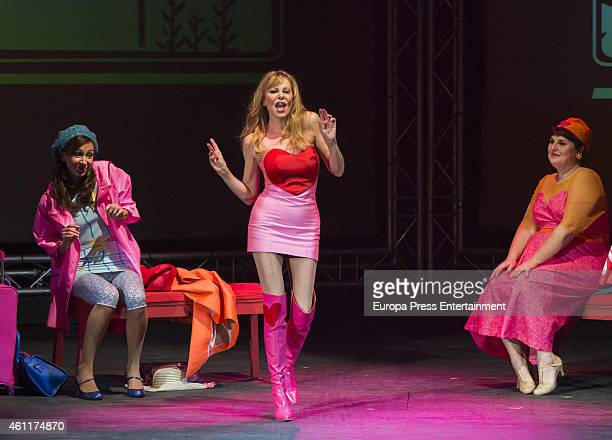 Elisa Matilla Ana Obregon and Tete Delgado perfom during 'Sofocos Plus' at Olympia Theatre on December 27 2014 in Valencia Spain
