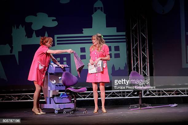 Elisa Matilla and Ana Obregon attend the presentation of 'Sofocos Plus' at La Latina theatre on January 19 2016 in Madrid Spain
