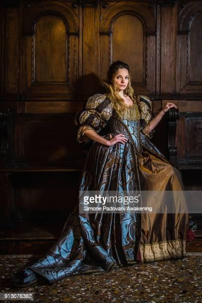 Elisa Mazzucato poses in Oratorio della Croce of Scuola Grande San Giovanni Evangelista wearing a Maria Nasi costume on February 1 2018 in Venice...