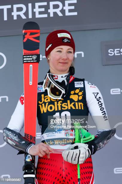 Elisa Moerzinger of Austria takes 2nd place during the Audi FIS Alpine Ski World Cup Women's Parallel Slalom on January 19, 2020 in Sestriere Italy.