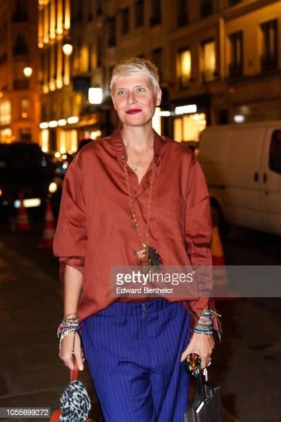 Elisa Nalin is seen outside the Fendi cocktail #Fendimania on October 16 2018 in Paris France