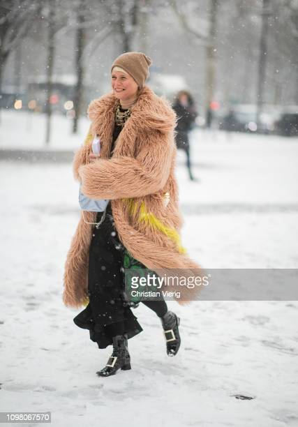 Elisa Nalin is seen wearing brown fake faux coat outside Chanel during Haute Couture Spring Summer 2019 Day Two on January 22 2019 in Paris France