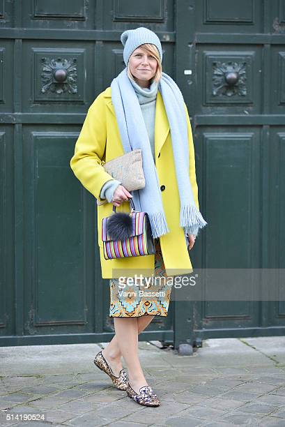 Elisa Nalin poses after the Hermes show during Paris Fashion Week FW 16/17 on March 7 2016 in Paris France
