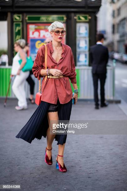 Elisa Nalin wearing skirt with slit blouse seen outside Fendi Couture on day four during Paris Fashion Week Haute Couture FW18 on July 4 2018 in...