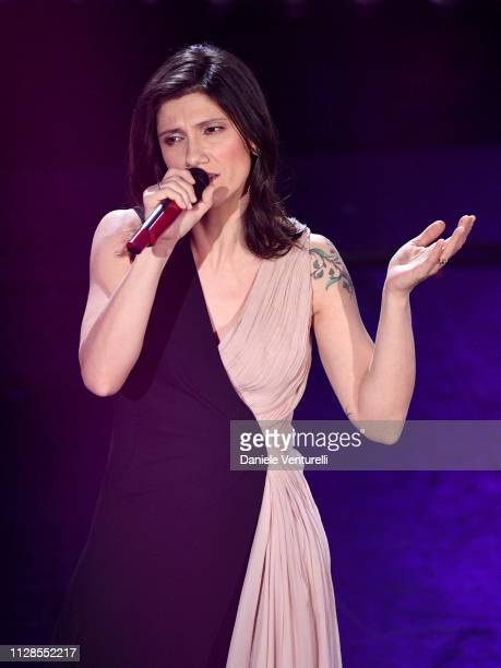 Elisa on stage during the closing night of the 69th Sanremo Music Festival at Teatro Ariston on February 09 2019 in Sanremo Italy