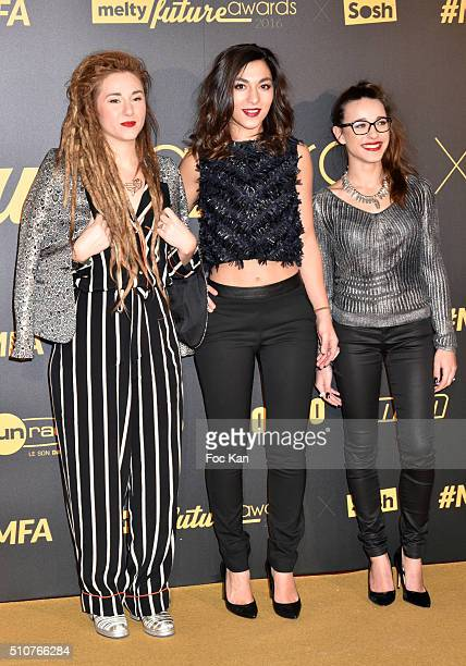 Elisa Paris Lucie Lebrun and Juliette Saumagne from LEJ attend The Melty Future Awards 2016 at Le Grand Rex on February 16 2016 in Paris France